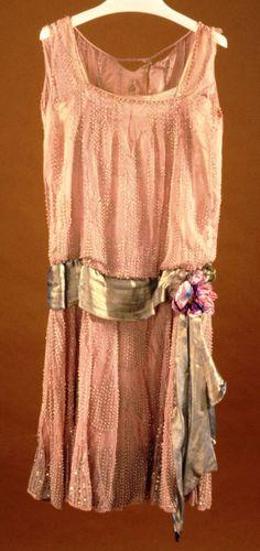 evening dress,  georgette, beads, sequins, lamé sash. c1925, Giuseffe Girolamo
