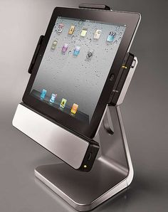 Gift the tech enthusiast in your life with the Rotating iPad 2 and iPad 3 Dock with Speakers that serves not only as a mount for an iPad, but also a powerful stereo system.