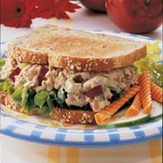 Apple tuna sandwiches gets fun flavor from sweet pickle relish and lots of crunch from apples, celery and walnuts. The satisfying sandwiches are a complete meal. Great for Beach picnic!!