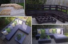 A backyard lounge area. Outdoor sofa sectional homemade.