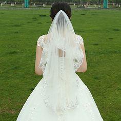 Wedding+Veil+Two-tier+Fingertip+Veils+Lace+Applique+Edge+Tulle+White+–+USD+$+10.79