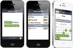 Good Habits app - virtual version of Jerry Seinfeld's Don't Break the Chain advice.