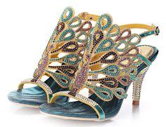 Honeystore Damen's Pfau geformt Pattern Handgemacht Strass Sandalen Blau 38.5 EU: Amazon.de: Schuhe & Handtaschen