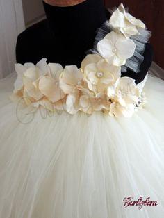 Ivory pearl tutu dress flower girl dress tutu dress by Gurliglam, $98.00