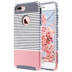 iPhone 7 Plus Case ULAK Knox Armor Slim [Dual Layer] Protection [Scratch Resistant] Hard Back Cover [Shock Absorbent] TPU Bumper Case for Apple iPhone 7 Plus [5.5 inch]-Minimal Rose Gold StripesGrey