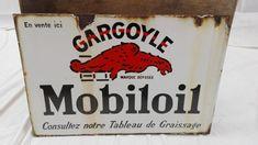 Plaque Gargoyle Mobiloil émaillée double face, années 30-40