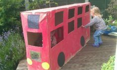 London bus cardboard box craft fr Entertaining Monsters - could doom something like this with the sofa boxes, if we ever get the sofas out of them