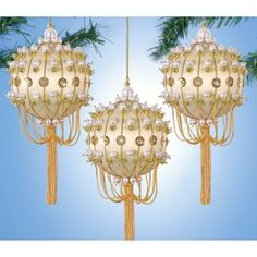 Pretty gold/ivory beaded ornaments