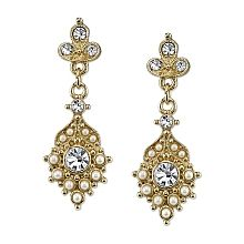 Downton Abbey Gold-Tone Pearl & Crystal Fan Drop Earrings - ShopPBS.org