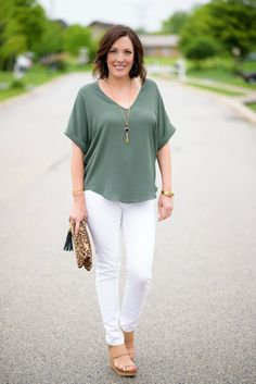 Spring Outfit Ideas: Lush Cuff Sleeve Woven Tee with white DL1961 Florence skinnies