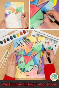 Learn art history while creating a Wassily Kandinsky watercolor painting. Fill up your art sub plan folder with no-prep, abstract art project for kids that are easy to implement. Great for arts integration, homeschooling parents, and art teachers wanting to liven up their art lessons with an art game. | Glitter Meets Glue #art #artlesson #arthistory #wassilykandinsky #artproject