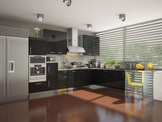 Buy Atsali L-Shaped Modular Kitchen from Capricoast. L Shaped Modular Kitchen, L Shaped Kitchen, Kitchen Cabinets, Shapes, Table, Kitchens, Stainless Steel, Furniture, Home Decor