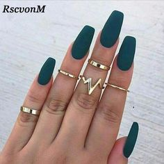 A manicure is a cosmetic elegance therapy for the finger nails and hands. A manicure could deal with just the hands, just the nails, or Acrylic Nail Art, Acrylic Nail Designs, Nail Art Designs, Acrylic Nails Coffin Matte, Matte Green Nails, Acrylic Nails Green, Autumn Nails Acrylic, Pink Coffin, Matte Nail Colors