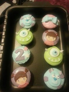 monsters inc. monsters & co. cupcakes fondant pdz cupcake bday birthday party sully Mike Boo @Martystic (^___^) (^___^) martystic
