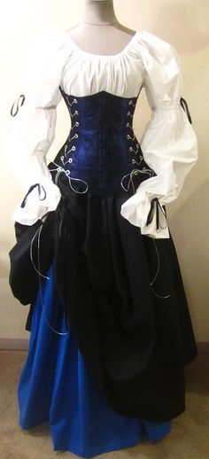 Buccaneer Pirate - renaissance clothing, medieval, costume Not a huge fan of underbust corsets at ren faire, but that looks pretty. Costume Renaissance, Medieval Costume, Renaissance Clothing, Medieval Fashion, Medieval Dress, Renaissance Fair, Renaissance Outfits, Mode Steampunk, Steampunk Fashion