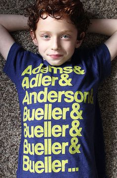 """Bueller T-Shirt by Hatch For Kids """"In 1930, the Republican-controlled House of Representatives, in an effort to alleviate the effects of the... Anyone? Anyone?... the Great Depression, passed the... A"""