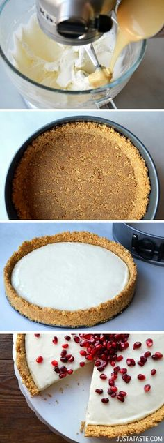 baking with W. Easy No-Bake Cheesecake (use gf graham crackers or cinnamon Chex). Never thought of using cinnamon chex! Easy No Bake Cheesecake, Baked Cheesecake Recipe, Keto Cheesecake, Raspberry Cheesecake, Pumpkin Cheesecake, Just Desserts, Dessert Recipes, Dessert Food, Cupcake Cakes