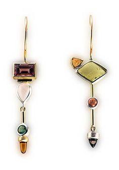 Janis Kerman: Multistone Earrings, Earrings in sterling silver, 18k gold, tourmaline, rose quartz, citrine, beryl, Umba sapphire, and iolite.