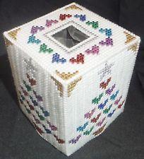 NEW Handmade Plastic Canvas Tissue Box Cover - METALLIC HEARTS CHRISTMAS TREE