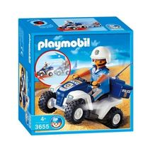 Playmobil Beach Police by Playmobil. $15.99. 5.9 x 5.9 x 3 inches. An emergency call from the beach, there has been a theft. The policeman on his cross-country quadbike rushes to the site to catch the thief. Over the built-in headset in his helmet he receives a detailed description of the perpetrator, and thanks to the built-in wind-up engine he quickly catches the fugitive. Even before he knows what is happening to him the policeman has put handcuffs on him. Now he will be taken...