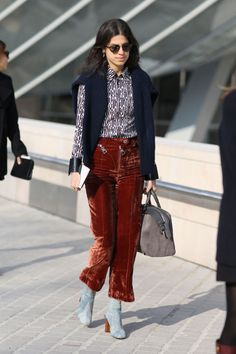 Leandra Medine @ManRepeller works #Louis velvet at #PFW and...