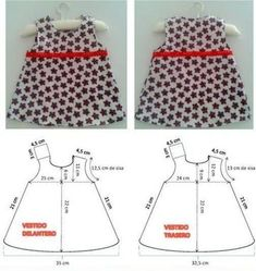 DIY: Dress for newborn girl, includes pattern. DIY: Baby dress size new born.This Pin was discovered by els Kids Dress Patterns, Baby Clothes Patterns, Sewing Patterns For Kids, Baby Patterns, Clothing Patterns, Sewing Clothes, Diy Clothes, Baby Outfits, Kids Outfits