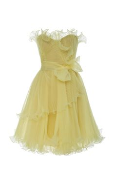 Strapless Bustier Organza Mini Dress by Marchesa Pretty Dresses, Beautiful Dresses, Marchesa Fashion, Strapless Bustier, Organza Dress, Looks Style, Yellow Dress, Couture Fashion, Just In Case