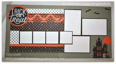 Another layout featuring the  SPELLBOUND & SILVER GLITTER PAPER for Halloween scrapbooking- $20- ONLY 1 LEFT