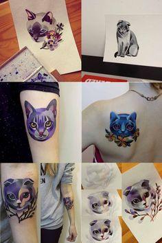 cat tattoos Sasha Unisex / Esta artista rusa hace unos tatuajes coloridos y originales en base a acuarelas