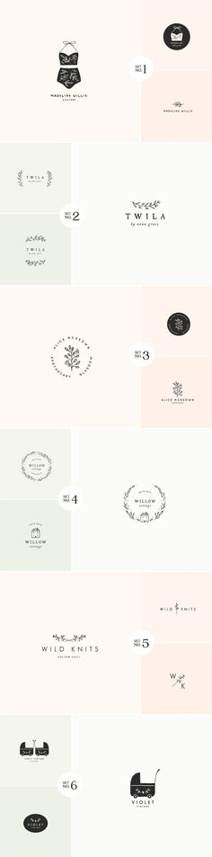 6 main logo designs, each one is accompanied by two matching logo versions resulting in a total of 18 logos.