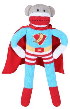 Today is the Day! Super Hero Sock Monkey designed by your friends at Zubels! Sock Animals, Monkey Business, Toddler Girl, Boy Or Girl, Socks, Superhero, Sock Monkeys, Stuffed Toy, Stuffed Animals