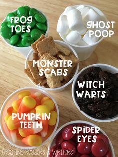 "Your kids will have fun making their own Halloween Snack Mix with these ""gross goodies."" (Creating Readers & Writers Blog)"
