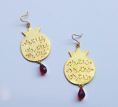 Persian calligraphy pomegranate silver earrings