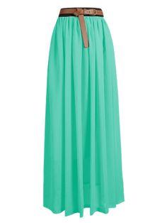 Women Lady Chiffon Pleated Retro Long Maxi Dress Elastic Waist Skirt 25 Colors   eBay