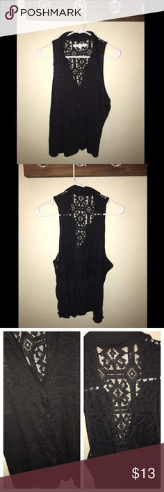 Aeropostale Tank Top Black color - collared neck - button down - lace back - great condition Aeropostale Tops Tank Tops