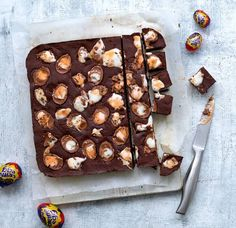 Irresistible chocolate fudge with added fondant goo! How will you eat yours? Asda Recipes, Tray Bake Recipes, Fudge Recipes, Sweet Recipes, Baking Recipes, Cake Recipes, Dessert Recipes, Recipies, Easter Deserts