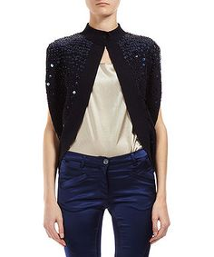 Sequin cape in navy by Love Moschino on secretsales.com