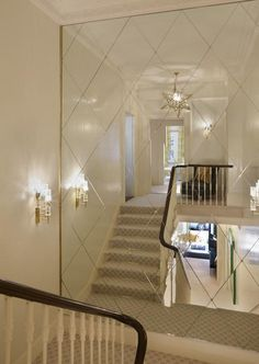 Sophisticated mirror on split stairs