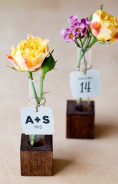 Bud Vase Escort Cards- even if not the wooden block-  I really like the idea of combining the seating cards with the favor. ( makes things easier). You could put daisies in them and then it's 3-in-1