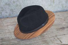 edd8a2898b17a Black Fedora w Walnut Brim. Chapeau FedoraWooden Bow TieBlack FedoraBow  TiesHats For MenCapFashion OutfitsFedorasBuy Buy