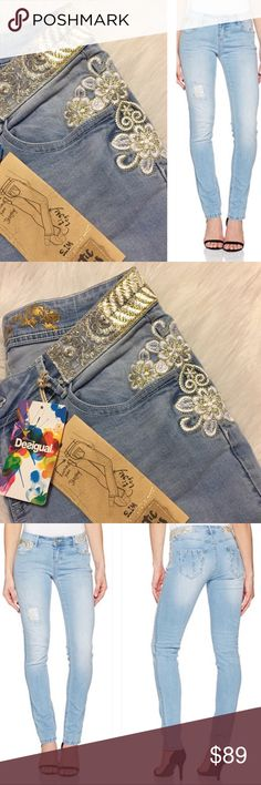 Desigual embroidered skinny jeans Light blue skinny jeans with gorgeous embroidered details. Length is tall and measurements are coming. New with all tags. Desigual Jeans Skinny