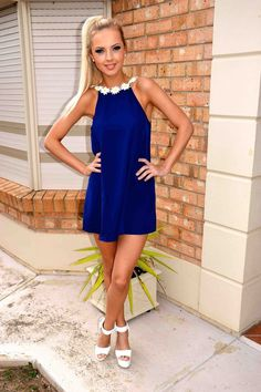 Navy Blue Mini Spaghetti Strap Dress