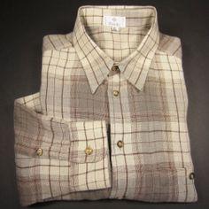 ZANELLA Men's 100% Linen Sport Shirt Windowpane Plaid Beige Made in Italy XL  #Zanella #ButtonFront