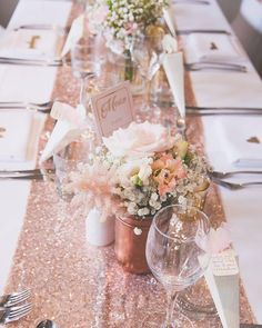 Rose Gold Sparkle Sequin Runner with floral decoration - decoration . Rose Gold Sparkle Sequin Runner with floral decoration - - Rose Gold Centerpiece, Gold Centerpieces, Rose Gold Decor, Quinceanera Decorations, Gold Wedding Decorations, Sparkle Decorations, Christmas Decorations, Birthday Decorations, Wedding Ideas