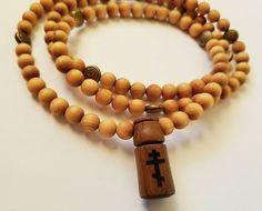 Chotki, 100 Hand Carved Cedar Wood Beads, Argentine Lignum Vitae Wood Orthodox Cross, Bronze Celtic Knot Accents, Prayer Rope-Komboskini