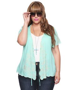 Forever 21 plus size woven open cardigan