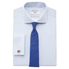 White and sky twill stripe non-iron extra slim fit shirt | Tailored fit formal shirts from Charles Tyrwhitt, Jermyn Street, London