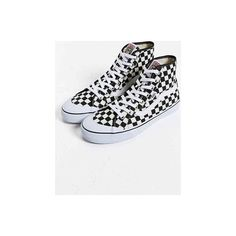 """""""Vans Black Ball Hi SF Checkered Sneaker,BLACK & WHITE,10"""" ❤ liked on Polyvore featuring shoes, sneakers, black trainers, black sneakers, ball shoes, black shoes and checkered sneakers"""