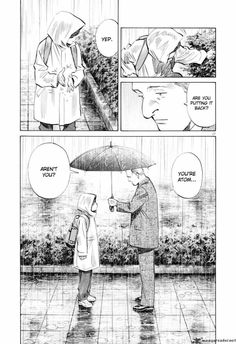 """Pluto. Manga by Urasawa Naoki (art & Story) you read this page R-L!. The series is a tribute / re-boot of """"The Mighty Atom"""" by Osamu Tezuka (Tezuka is credited as author also). The art work (one of my favourite pages here) is lovely. The way Atom is drawn reminds me of my 4yr old Hector."""