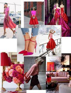 Mix de rosa com vermelho. A combinação das cores traz um impressão de novo, de fresh, de inusitado.